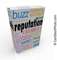 doboz, hihető, termék, megbízható, hírnév, szavak