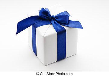 doboz, kék, white szalag, tehetség