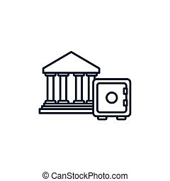 doboz, kép, pénz, egyenes, páncélszekrény, bankügylet