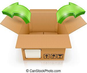doboz, kívül, kinyitott, nyíl