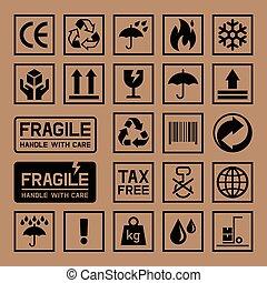 doboz, kartondoboz, kartonpapír, icons.