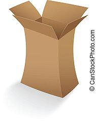 doboz, kartonpapír, nyílik, üres