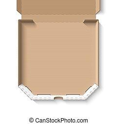 doboz, kartonpapír, nyílik, üres, pizza
