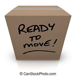 doboz, lépés, relocation, mozgató, hajlandó, kartonpapír