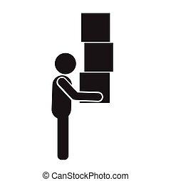 doboz, pictogram, ábra, tervezés, mozgató, ikon, ember