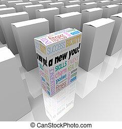 doboz, pillanat, siker, maga javítás, új, ön