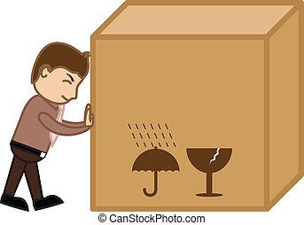 doboz, rakomány, nagy, rámenős, vektor, ember