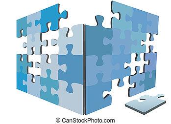 doboz, rejtvény, oldás, igsaw, darabok, darab, szegély, 3