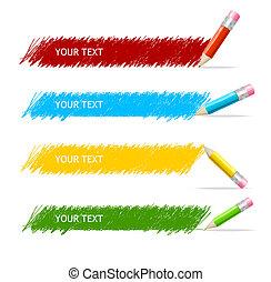 doboz, rudacska, vektor, színes, szöveg