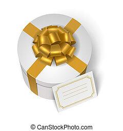 doboz, sárga, íj, ajándék, esküvő, szalag