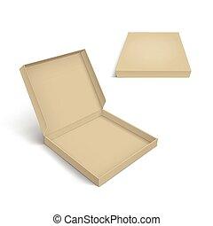doboz, sablon, elszigetelt, csomagolás, háttér, fehér, pizza