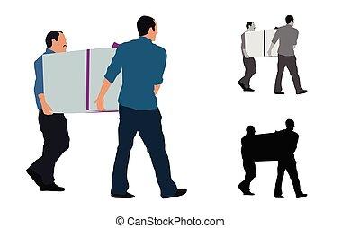 doboz, színezett, nagy, férfiak, két, ábra, gyakorlatias, szállítás