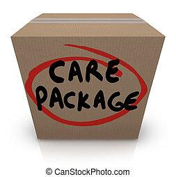 doboz, szükséghelyzet, csomag, eltart, szavak, segély, kartonpapír, törődik