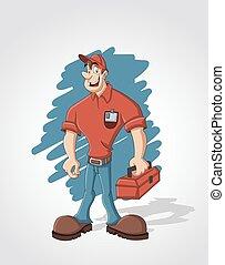 doboz, szerszám, munkás, piros