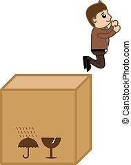 doboz, törékeny, vektor, ugrás, ember