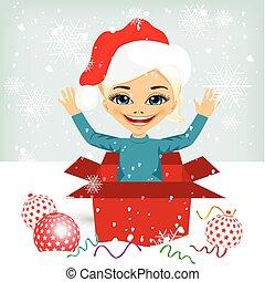 doboz, tehetség, belső, érkező, leány, karácsony, ki