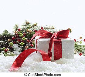 doboz, tehetség, hó, piros white, szalag