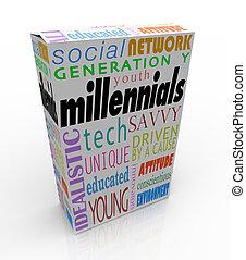doboz, termék, csomag, nemzedék, marketing, fiatalság, millennials, y
