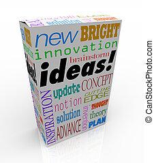 doboz, termék, fogalom, gondolat, újító, elmezavar, ihlet