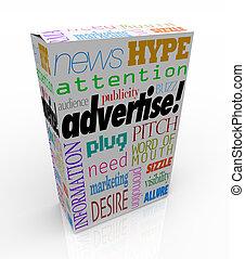 doboz, termék, marketing, kiárusítás, szavak, hirdet