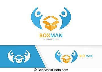 doboz, vagy, combination., család, csomag, jelkép, emberek, egyesítés, logotype, felszabadítás, összekapcsol, vektor, tervezés, befog, template., jel, icon., egyedülálló, segítség