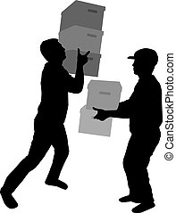 dobozok, árnykép, ember