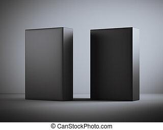 dobozok, fekete, két, tiszta
