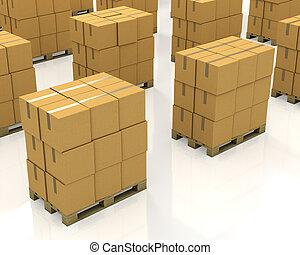 dobozok, kartondoboz, sors, paletták, kazalba rak