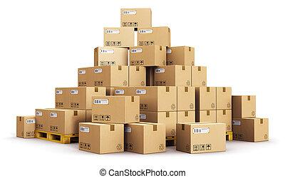 dobozok, kartonpapír, paletták, hajózás, aranyér