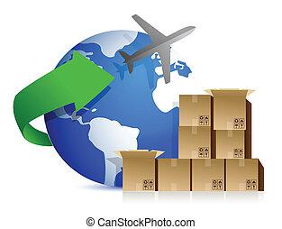 dobozok, repülőgép, hajózás
