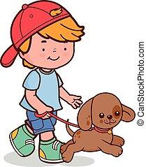 dog., fiú, gyalogló, vektor, ábra