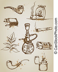 dohányzás cigaretta, ikonok