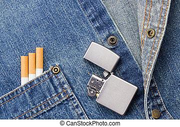 dohányzó, farmeranyag