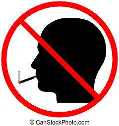 dohányzó, fej, árnykép, nem