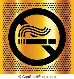 dohányzó, jelkép, háttér, arany, nem