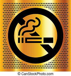 dohányzó, jelkép, háttérfüggöny, arany, nem