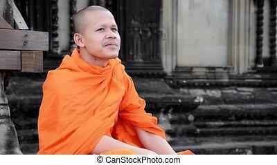 dohányzó, khmer, szerzetes, cigaretta