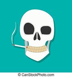 dohányzó, koponya, ikon