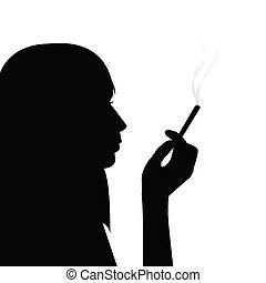 dohányzó, leány, árnykép, fekete