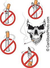 dohányzó, nem, koponya, aláír
