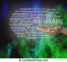 dohányzó, szó, abbahagy, felhő