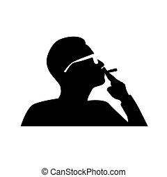 dohányzó, vektor, ember, cigaretta
