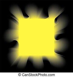 dohányzik, derékszögben, fekete, sárga háttér