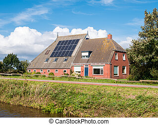dokkumer, friesland, csatorna, nap-, tető, ee, németalföld, fanyergek, farmház