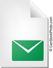 dokumentum, boríték, ikon