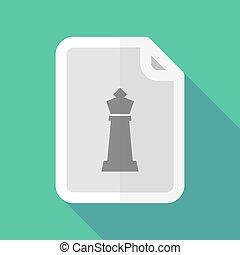 dokumentum, sakkjáték, alak, hosszú, árnyék, király