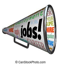 dolgok, karrier, munka, bullhorn, hangszóró, alkalmazás