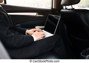 dolgozó, autó, belső, számítógép, használ, üzletember