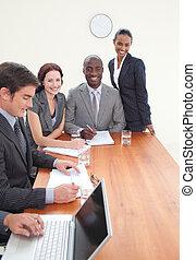 dolgozó, gyűlés, együtt, businessteam