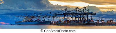 dolgozó, hajó, berakodás, konténer, rakomány, daru, rakomány